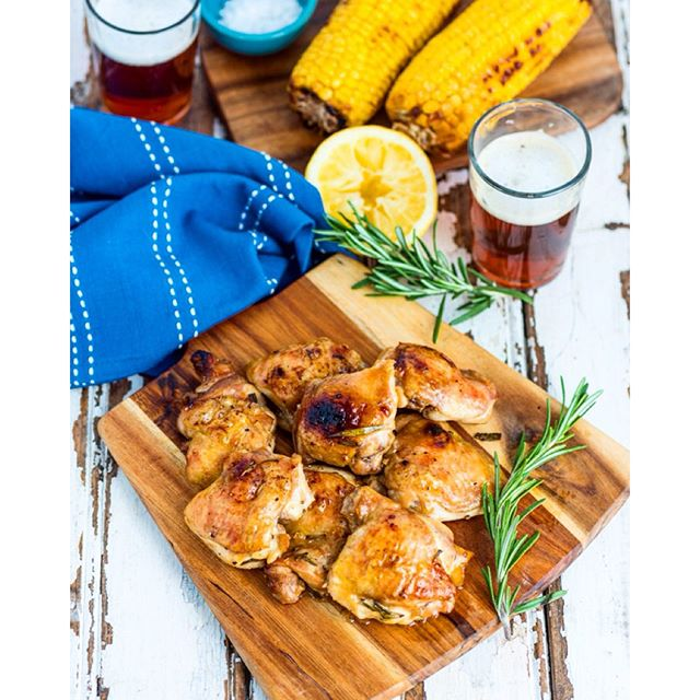 Beer Marinated Chicken Thighs With Brown Sugar, Lemon & Rosemary