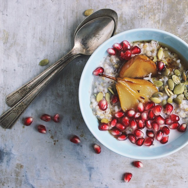Steel Cut Oats with Maple Roasted Pears & Pomegranate