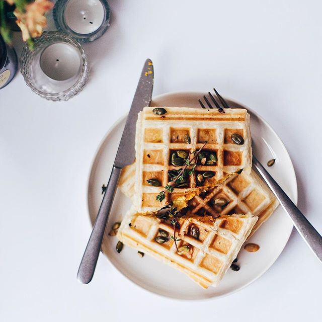 Puff Pastry Waffles With Kabocha Squash And Ricotta