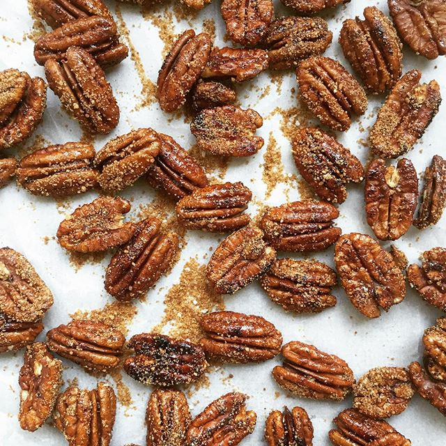3 ingredient, one pan Candied Sriracha Pecans.  Your salads will never be the same again!  I dare…