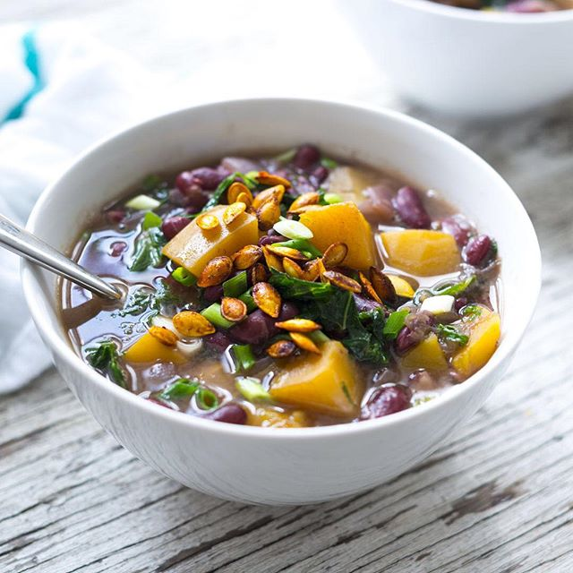 Kidney Bean & Butternut Squash Stew With Kale & Roasted Seeds