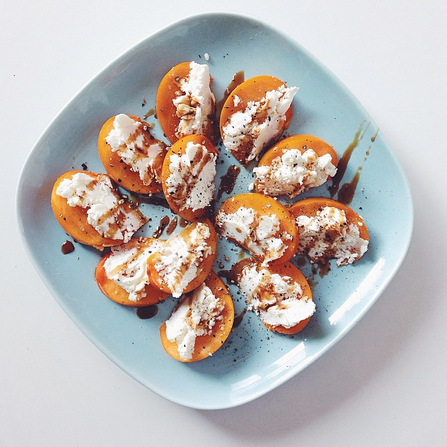 Persimmon And Goat Cheese With Pomegranate Molasses Drizzle