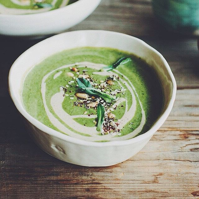 Broccoli Soup With Tahini-lemon Sauce & Pine Nut Za'atar