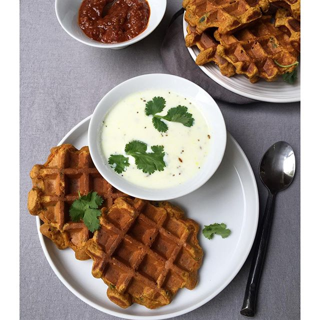 Spicy Multigrain Pumpkin and Carrot Waffles (eggless) with some warm Yogurt Soup. Dinner today and a…