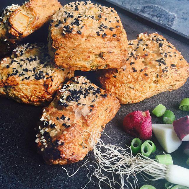 Potato & Parmesan Scones With Toasted Black Sesame Seeds