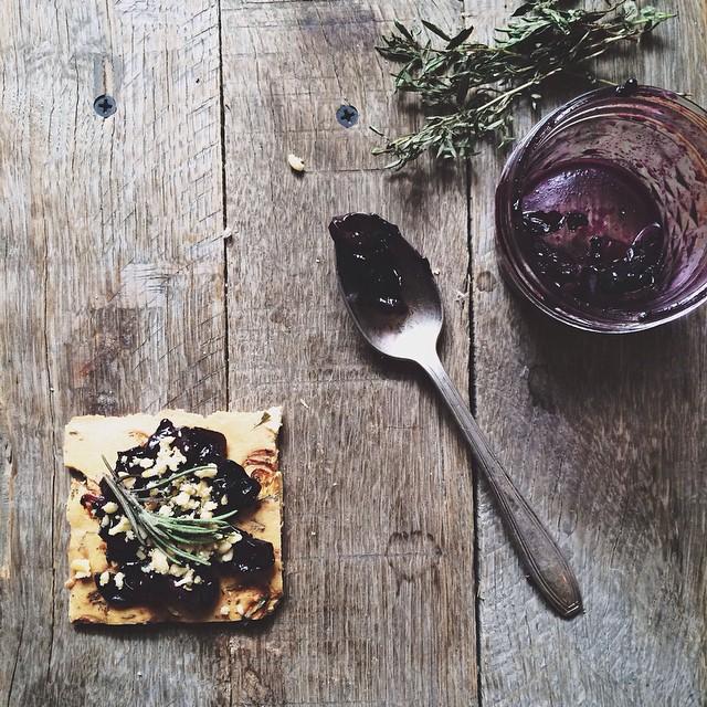 Concord Grape Saute with Shallot Herb Chickpea Flatbread (socca)
