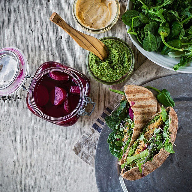The vegan Swiss chard pesto was definitely the superstar of this pita pocket meal.