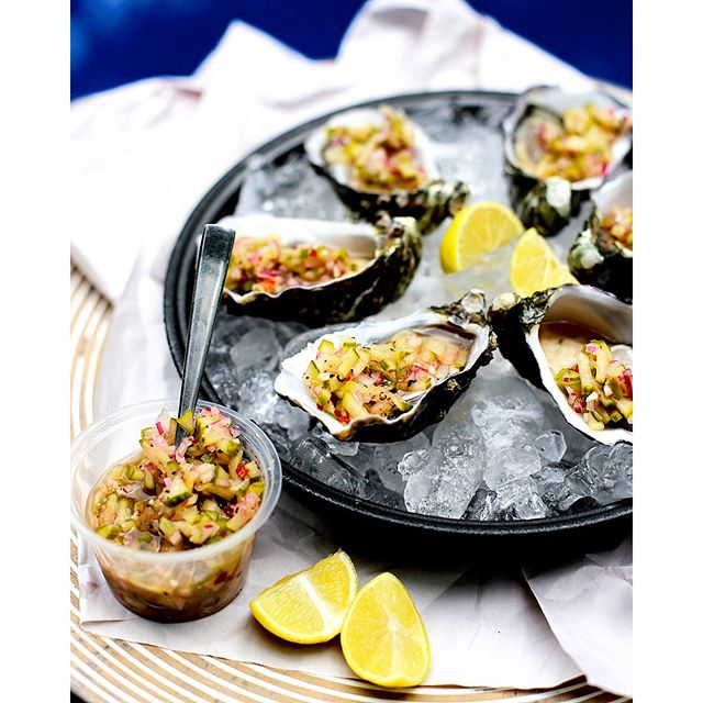 Oysters With Lime Pickled Cucumber
