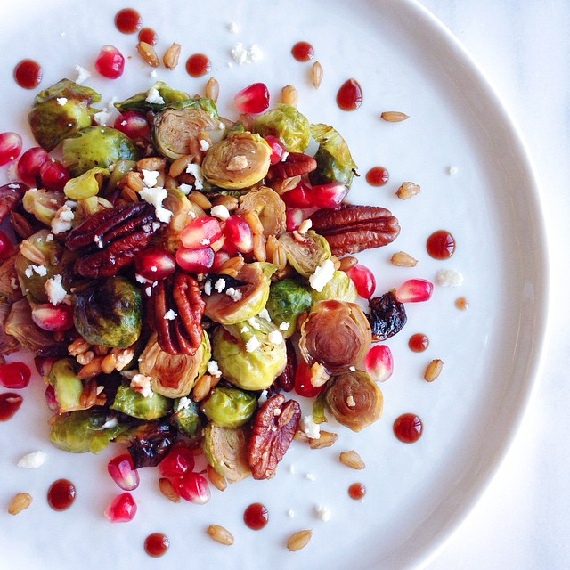 Pomegranate & Brussels Sprouts Farro Salad With Pomegranate-citrus Maple Dressing