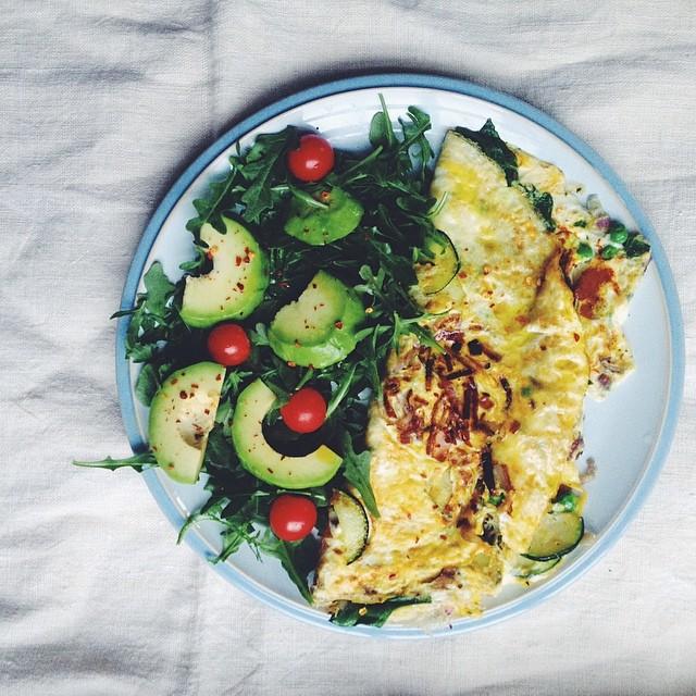 Courgette, Pea + Tarragon Omelette