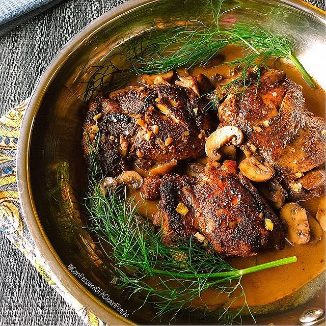 Braised Chicken Thighs With Red Wine Mushroom Sauce
