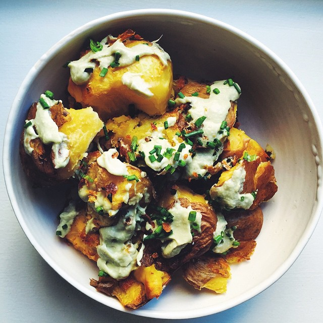 Twice Cooked Potatoes With A Creamy Avocado Garlic Sauce
