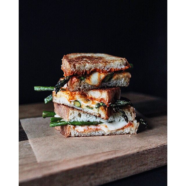 Asparagus & Sweet Red Pepper Pesto Grilled Cheese