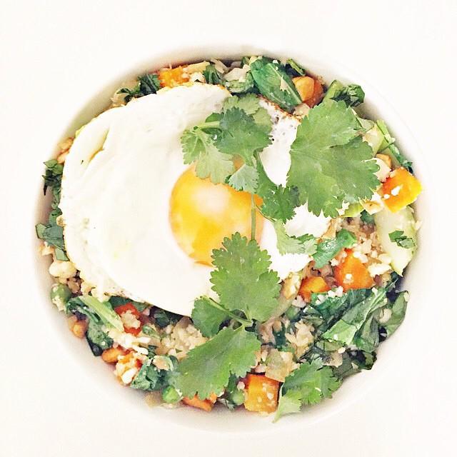 Cauliflower & Bok Choy Fried Rice With Egg And Cilantro