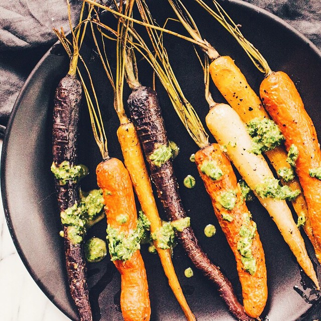 Roasted Carrots With Chimichurri Sauce & Cilantro