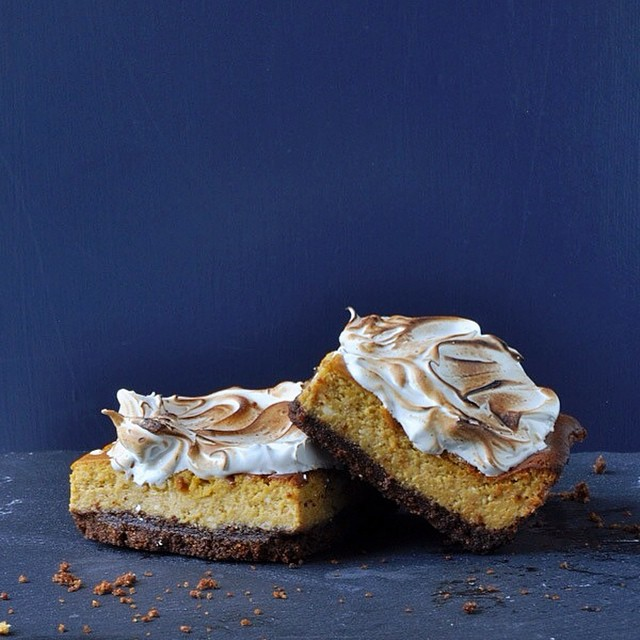 Pumpkin Cheesecake Bars With Toasted Meringue