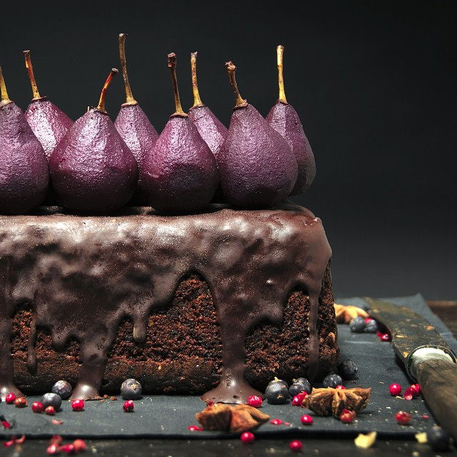 Spiced Hazelnut Cake With Poached Red Wine Pears And Chocolate Glaze