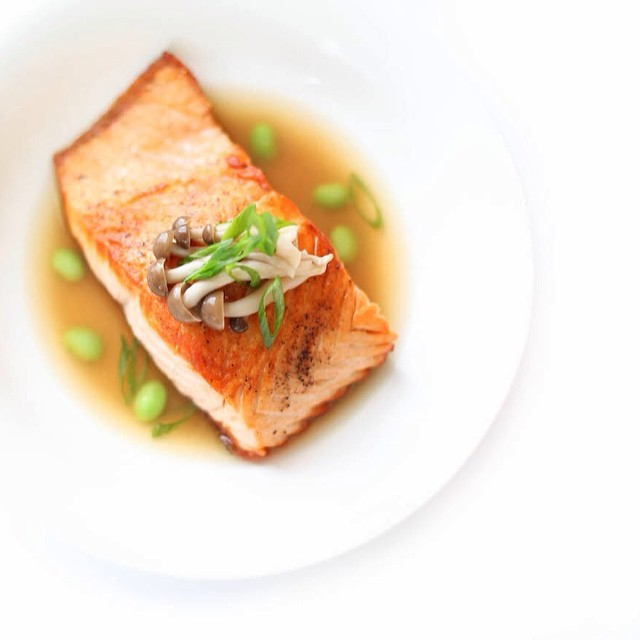 Salmon With Shimeji Mushroom, Miso Dashi And Edamame
