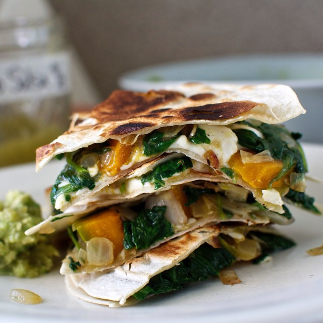 Roasted Squash And Kale Quesadillas With Queso Fresco