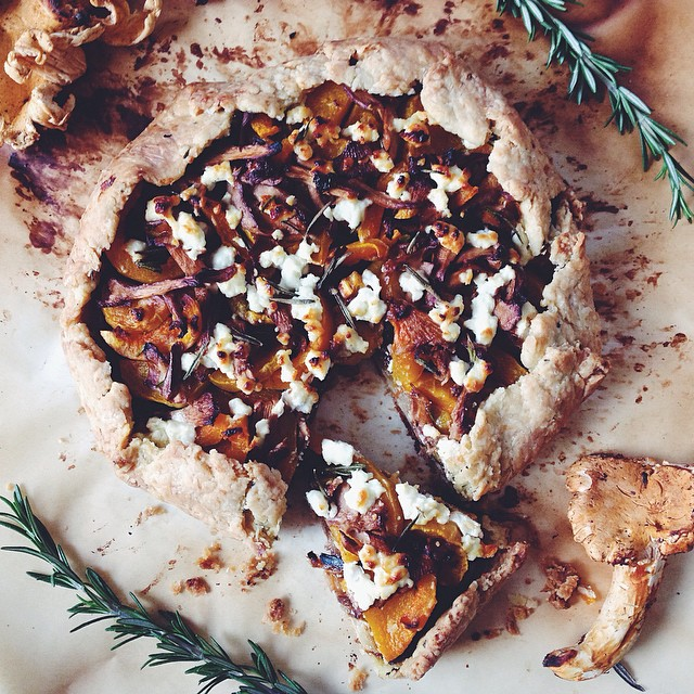 Butternut Squash & Chanterelle Mushroom Galette With Caramelized Fennel, Onion & Chèvre