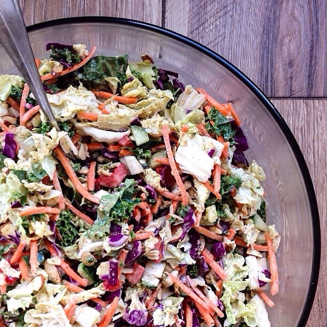Rainbow Slaw With Almond Butter Dressing
