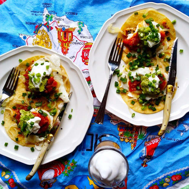 Sunday Brunch! Corn tortillas with fresh farm eggs fried in salted butter, with salsa rojo + avocado…