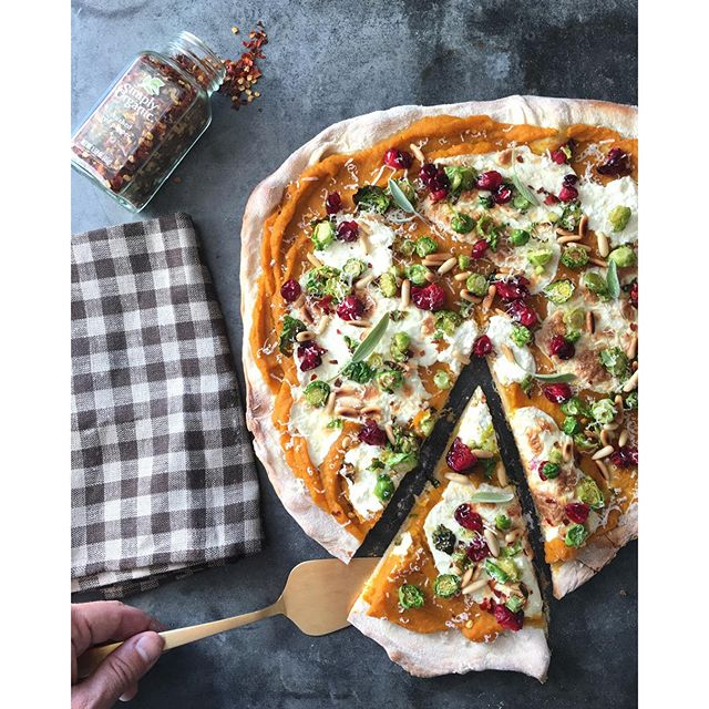Local Squash, Brussels Sprout & Cranberry Pizza