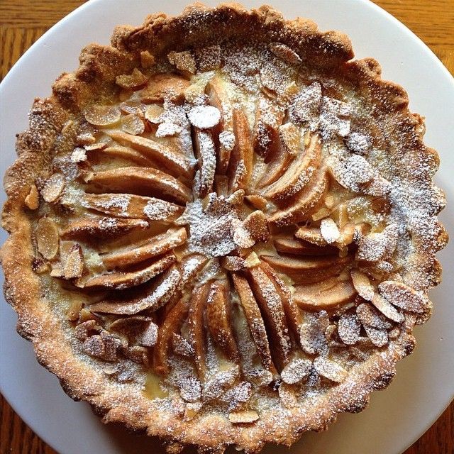 Roasted Pear Tart Topped With Slivered Almonds