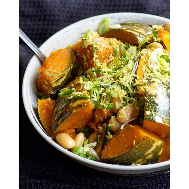 Simmered Pumpkin With White Beans On Brown Rice