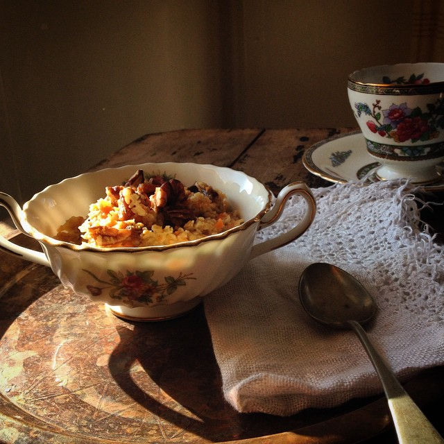 Carrot Cake Oatmeal With Chopped Pecans, Raisins & Coconut Milk