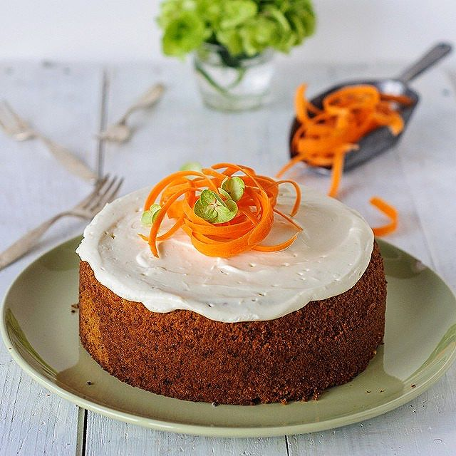 Carrot Cake With Lemon Frosting & Walnuts