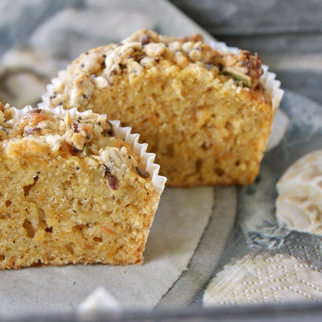 Carrot & Apple Wholewheat Muffins With Walnuts & Coconut Topping