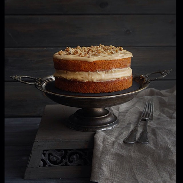 Salted Caramel Carrot Cake With Cream Cheese & Walnuts