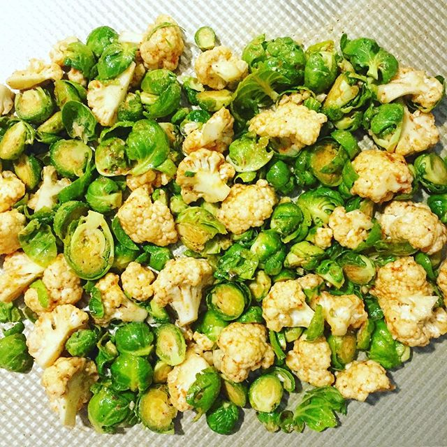 Roasted Brussels Sprouts And Cauliflower With Vangi Baath Powder