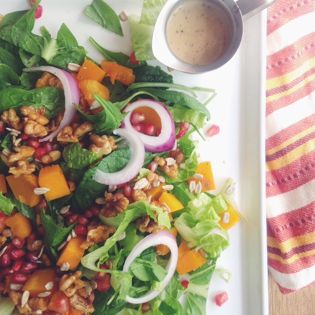 Fall Harvest Salad with Dijon Tahini Dressing