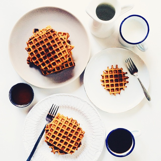 Butternut Squash & Brown Butter Buttermilk Waffles With Maple Syrup