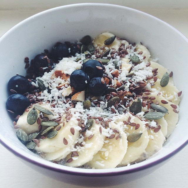 Coconut, Banana, Blueberry Date Chia Pudding