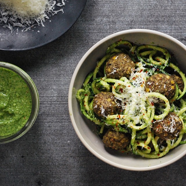 Zoodles With Mushroom Meatballs & Arugula Pesto