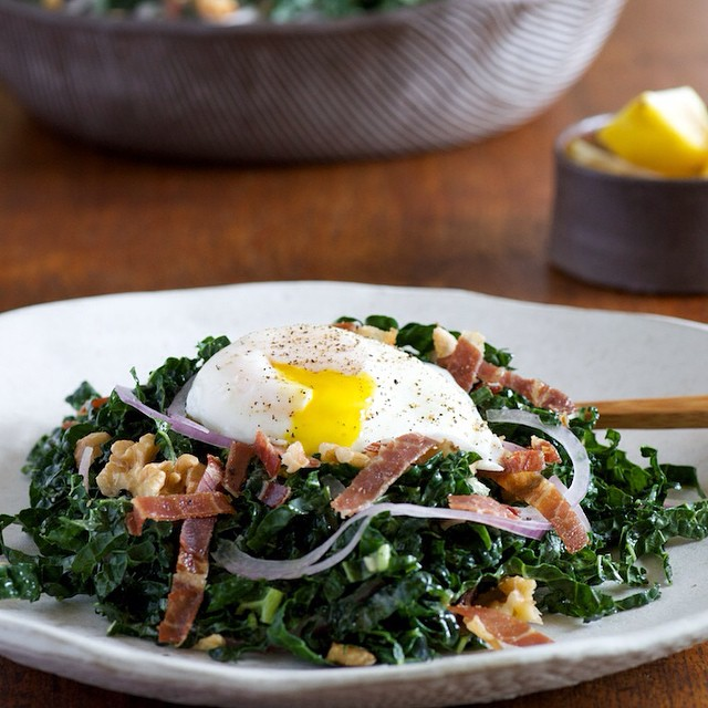 Walnut Kale Salad With Prosciutto, Red Onion & Poached Egg