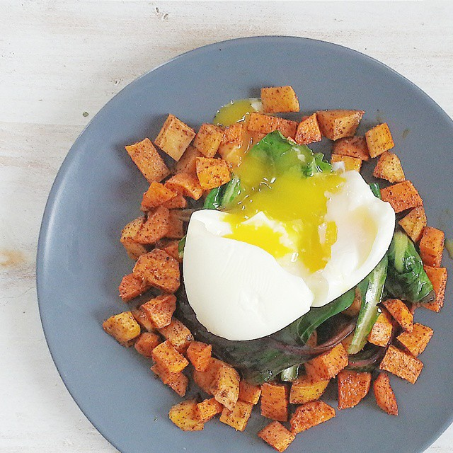 Cinnamon & Chile Roasted Sweet Potatoes, Sauteed Greens, & Soft Boiled Egg