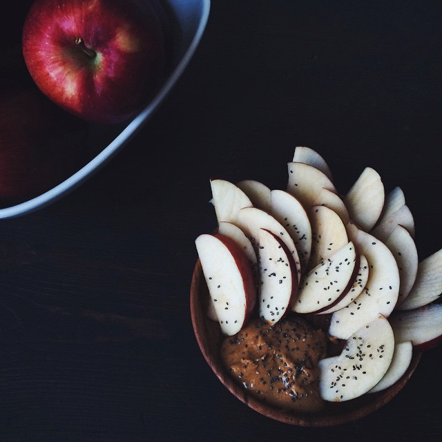 Apples With Chia Seeds In Almond Butter