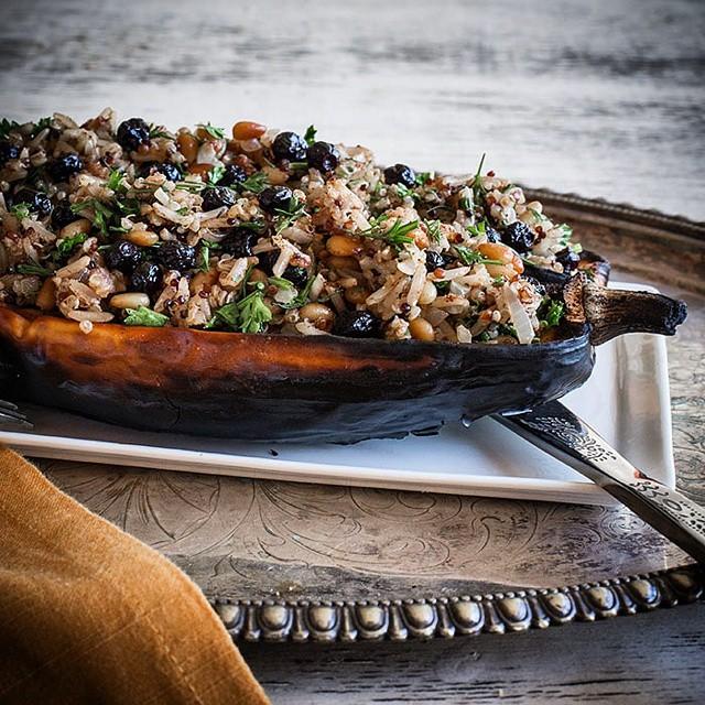 Delicata Squash Boat With Spiced Quinoa And Brown Rice