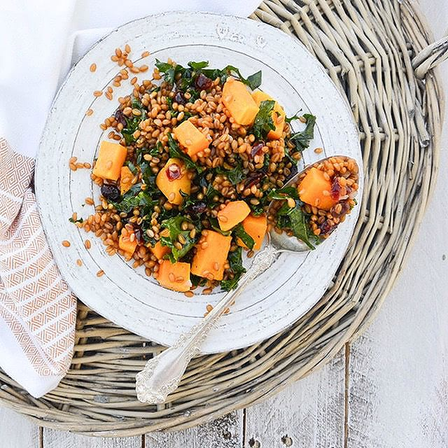 Butternut Squash & Kale Wheat Berry Salad With Whiskey-soaked Cranberries & Lemon
