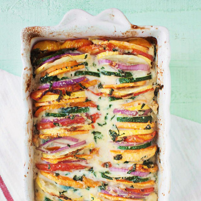 French Sweet Potato Tian With Mixed Vegetables & Parmesan