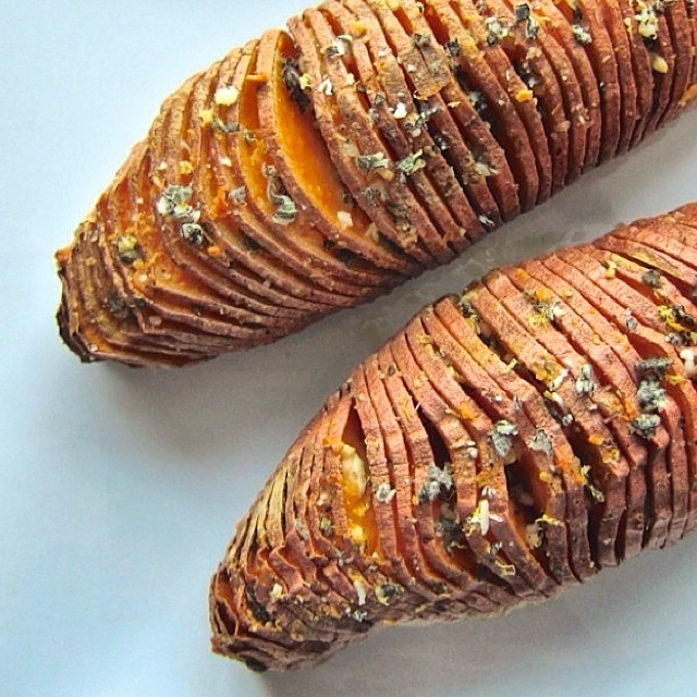 Hasselback Sweet Potatoes With Sage And Parmesan Gremolata