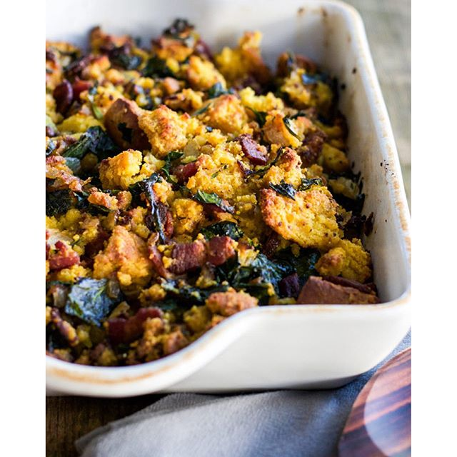 Bacon And Collard Greens  Cornbread Stuffing