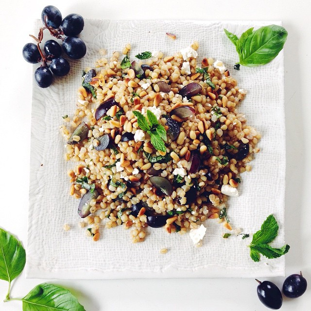 Wheat Berry & Grape Salad With Fresh Mint & Basil