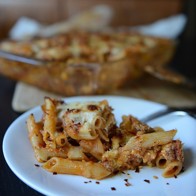 Easy Speedy Baked Ziti with a few flakes of crushed red peppers.  Recipe from Food and Wine.