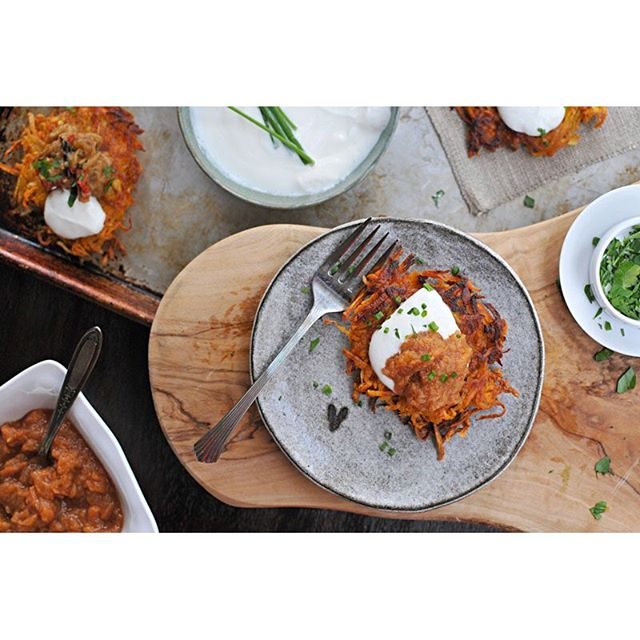 Latkes With Smoky Eggplant Relish & Persimmon-apple Sauce