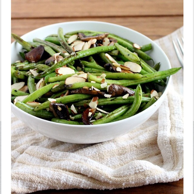 Sautéed Green Beans With Mushrooms + Almonds